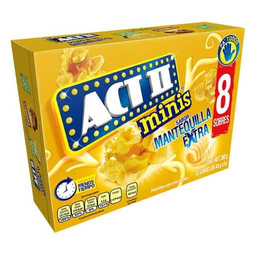 Chedraui:  8 pack Palomitas ACT II Minis Extra Mantequilla (error de imagen, es solo un sobre)