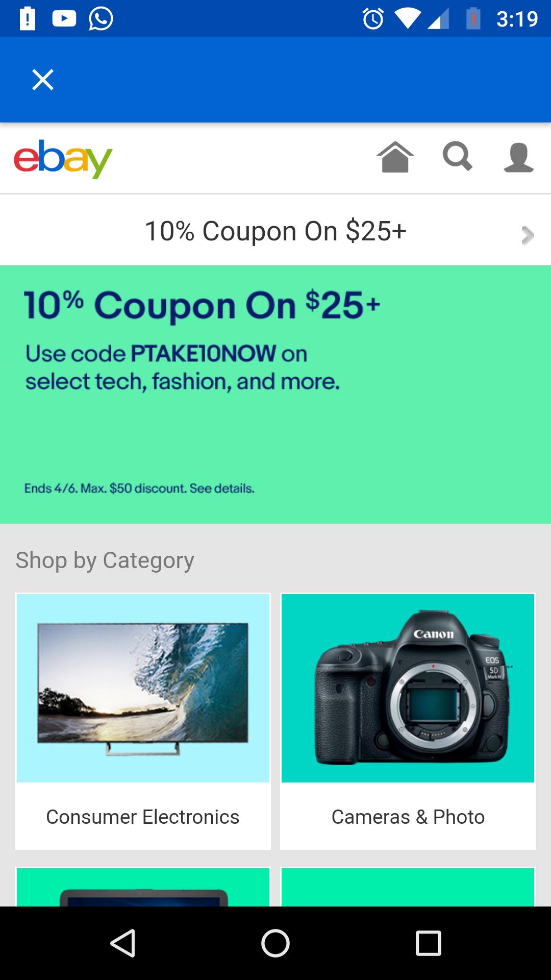 ebay: 10% descuento en compras mayores $25usd con Vendedores seleccionados