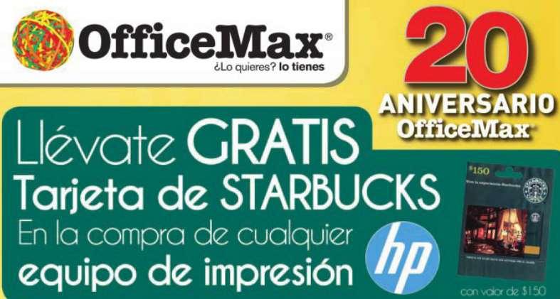 OfficeMax: tarjeta para Starbucks comprando impresora HP