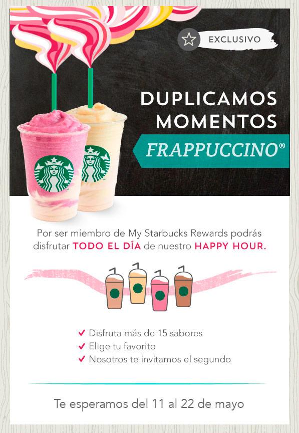 Starbucks: 2x1 en frappuccinos para miembros de My Starbucks Rewards