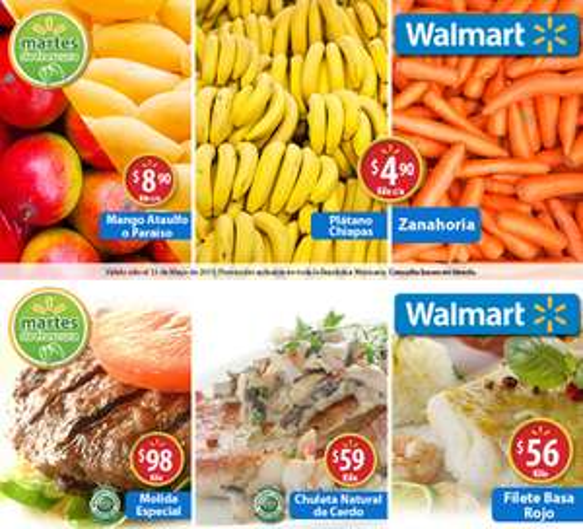 Martes de frescura en Walmart mayo 12: Plátano Chiapas $4.90 el kilo y más