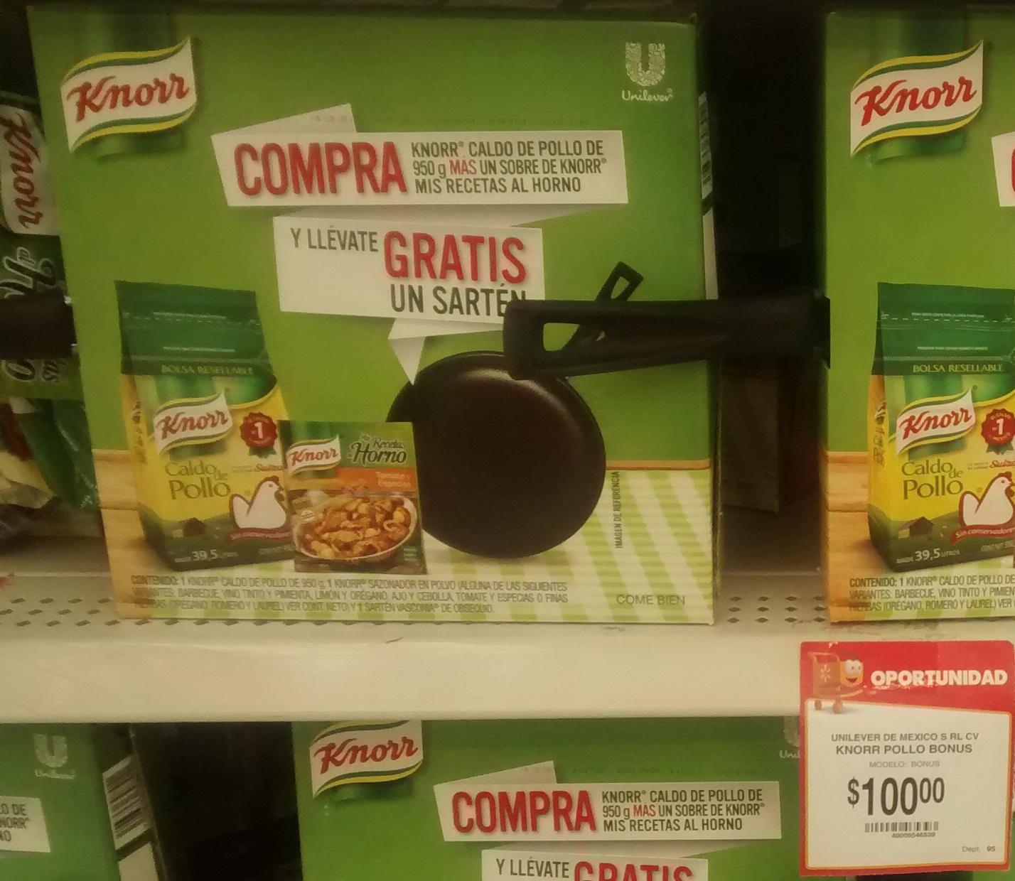 Walmart: Sarten gratis en la compra de 100 pesos en productos Knorr.