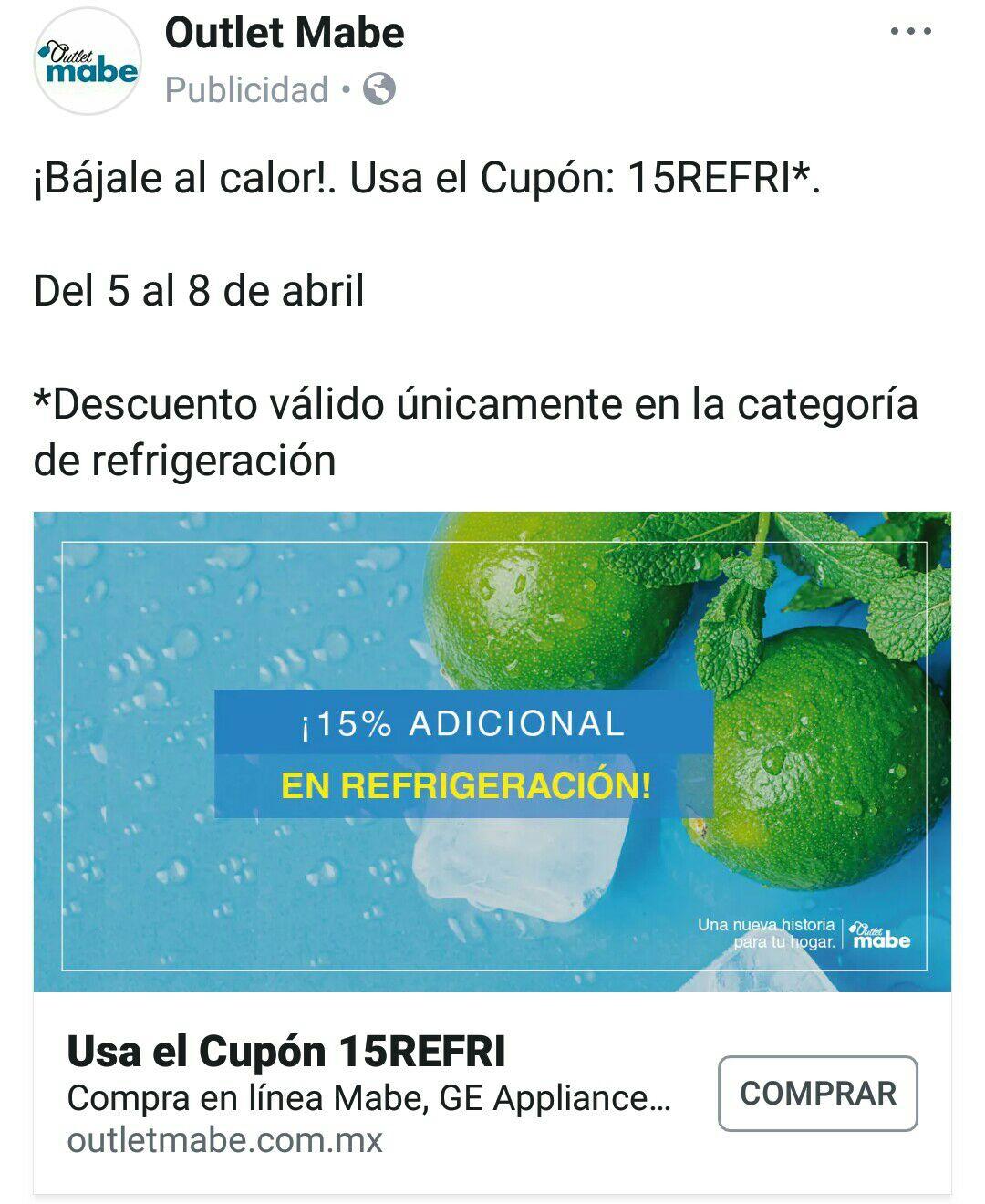 Outlet Mabe: Bájale al calor!. 15% de descuento en refrigeración 15REFRI