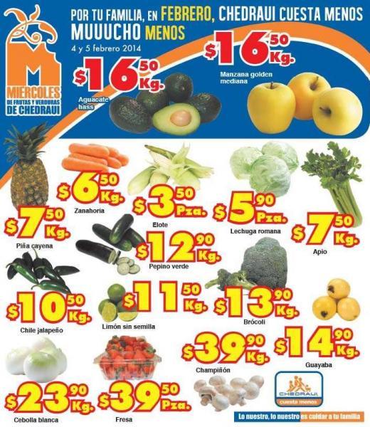 Ofertas de frutas y verduras en Chedraui 4 y 5 de febrero
