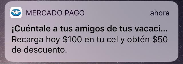 MercadoPago: $50 de descuento en recargas de $100