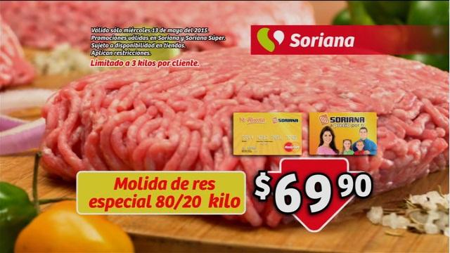 Soriana: Molida de res especial 80/20 kilo a $69.90