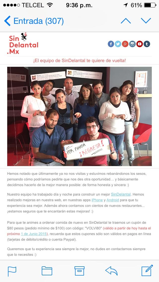Sin Delantal MX Cupón VOLVI80 $80 descuento