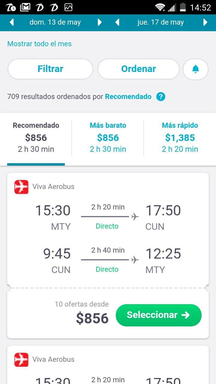 SkyScanner: Monterrey - Cancún, redondo VivaAerobus $856, Interjet $1385.