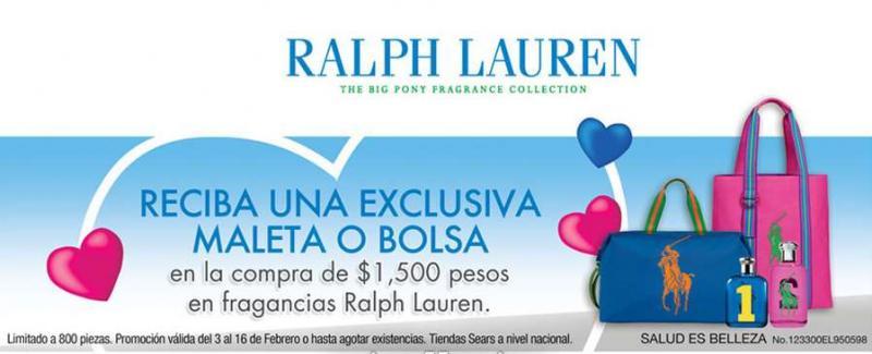 Sears: maleta o bolsa Ralph Lauren gratis comprando perfumes de la marca