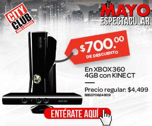 City Club: Xbox 360 4GB con Kinect a $3,799