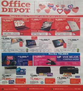 Folleto de ofertas en Office Depot febrero de 2014