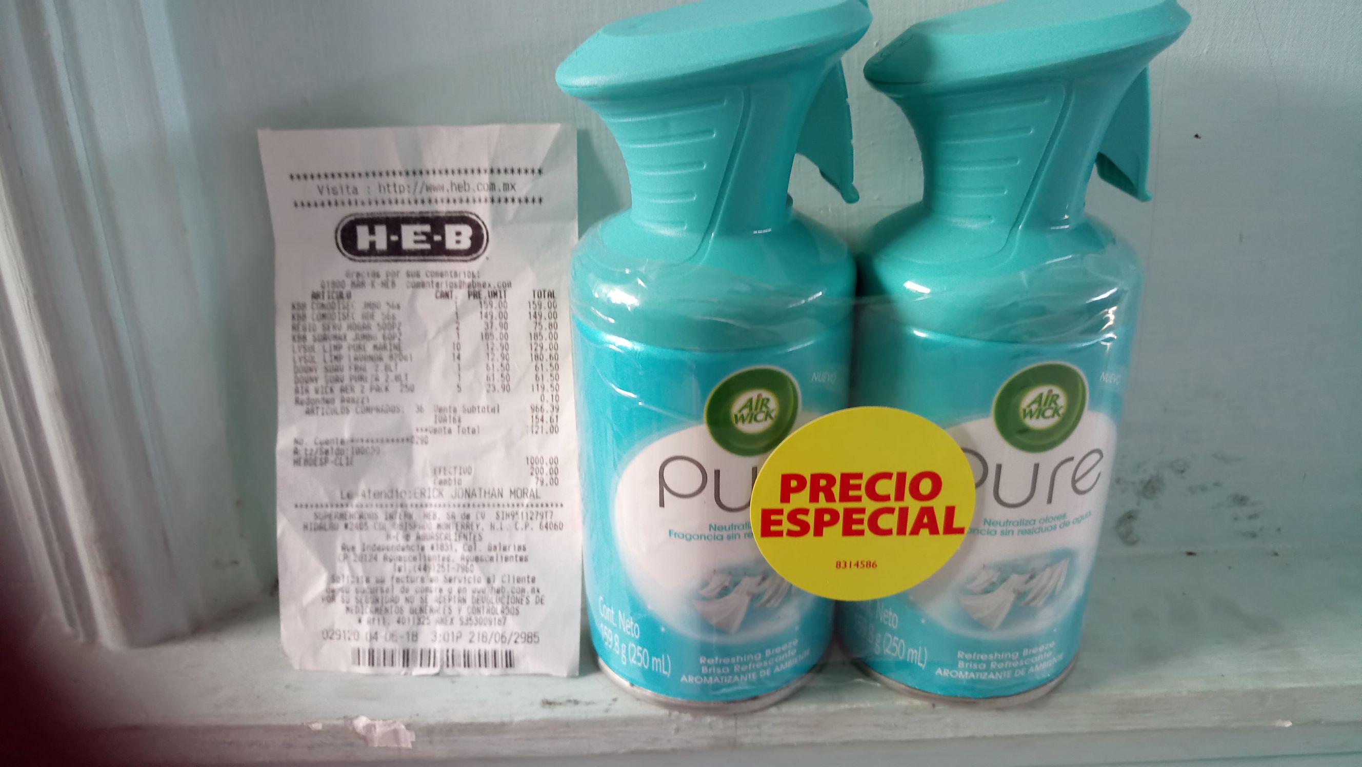 Heb Ags. Liquidación aromatizante Pure