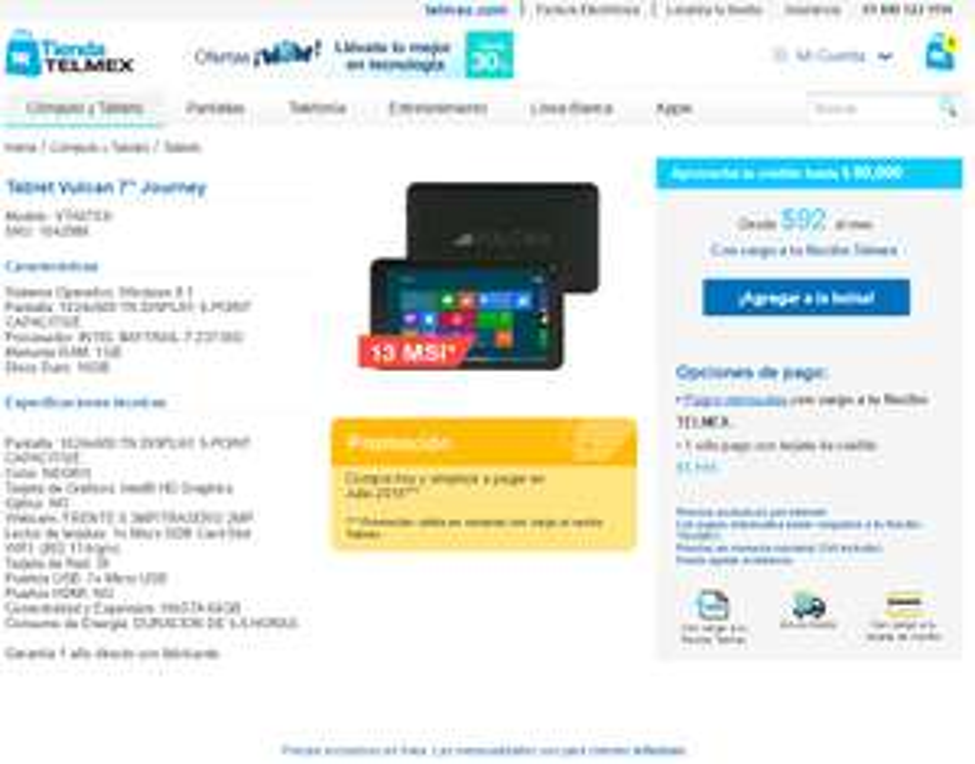 "TELMEX: Tablet Vulcan 7"" Journey A 13 meses de $92 con cargo de recibo telmex"