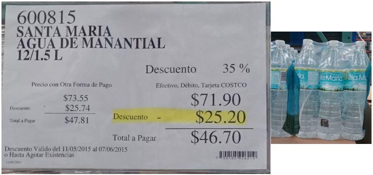 Costco: 12 pack Agua Sta. Maria de 1.5L a $47 ($3.89 por botella)