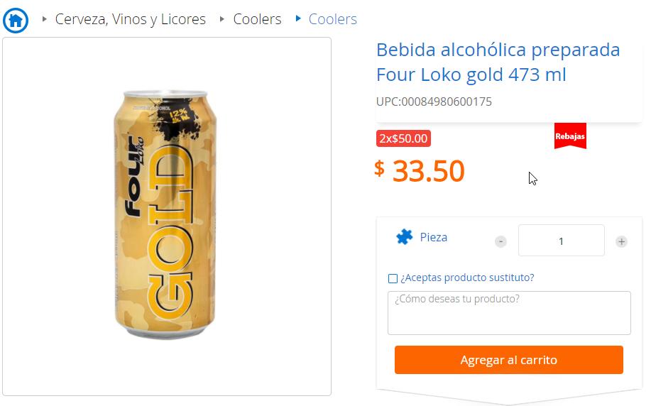 Walmart; Four loko gold en oferta 2 x 50