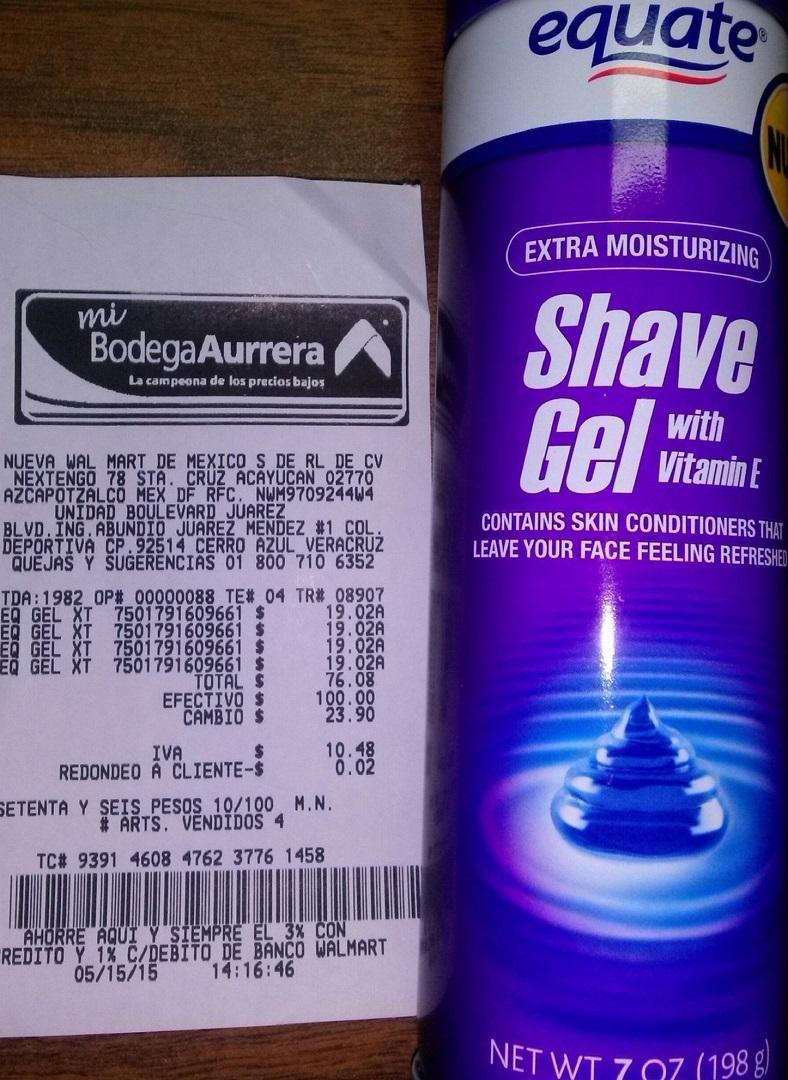 Mi Bodega Aurrerá: Gel para afeitar equate a $19.02