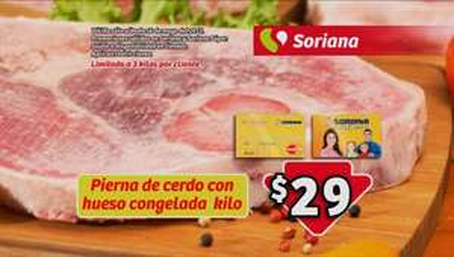 Soriana: Pierna de cerdo con hueso congelada kilo $29