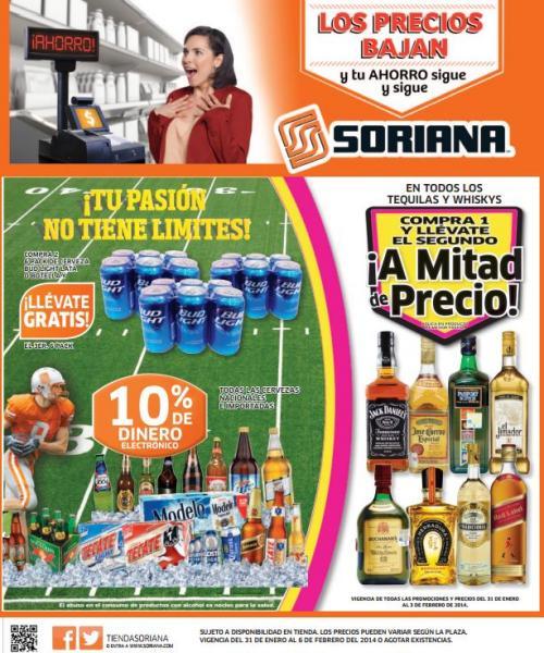 Folleto de ofertas en Soriana del 31 de enero al 6 de febrero (cerveza, tequila, whisky y +)