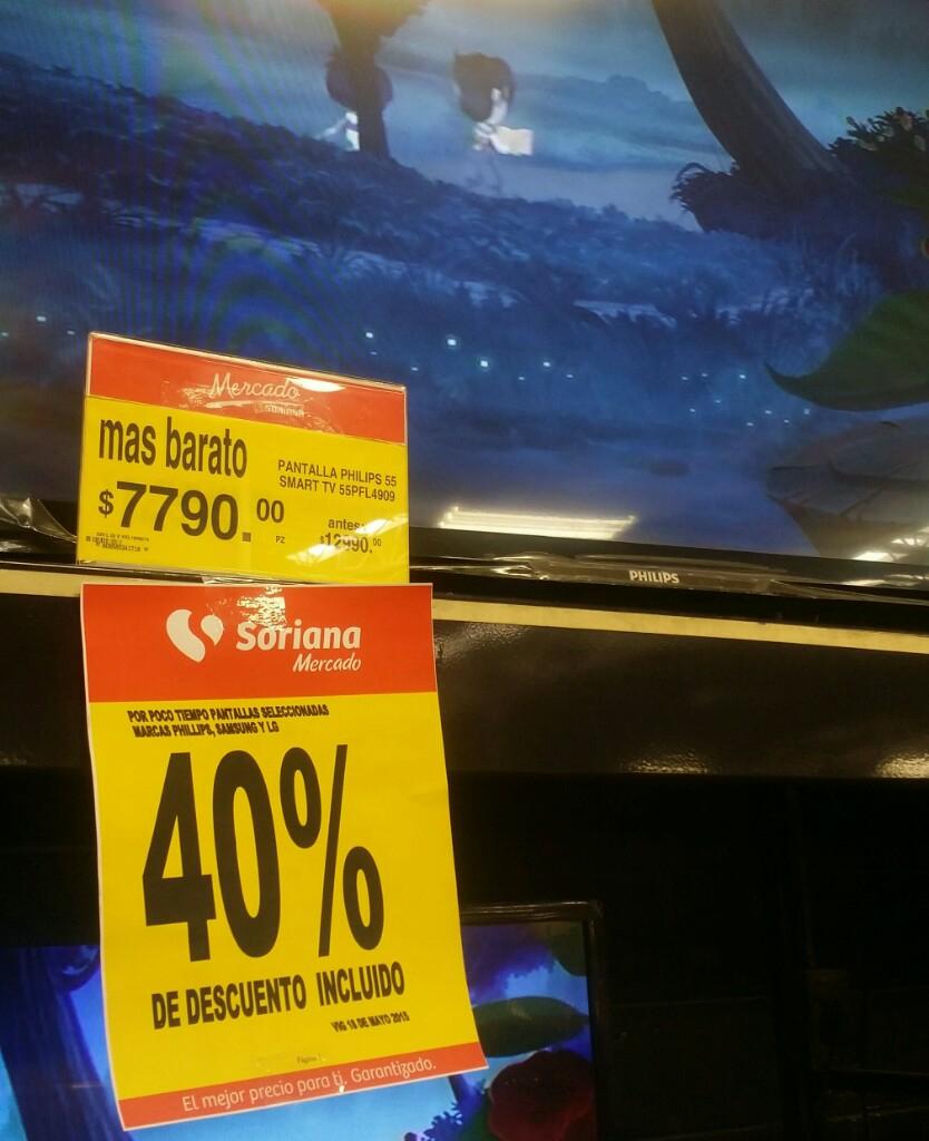 "Mercado Soriana: 40% de descuento en Pantallas seleccionadas (Ej. LED Philips 55"" Smart TV a $7,790)"