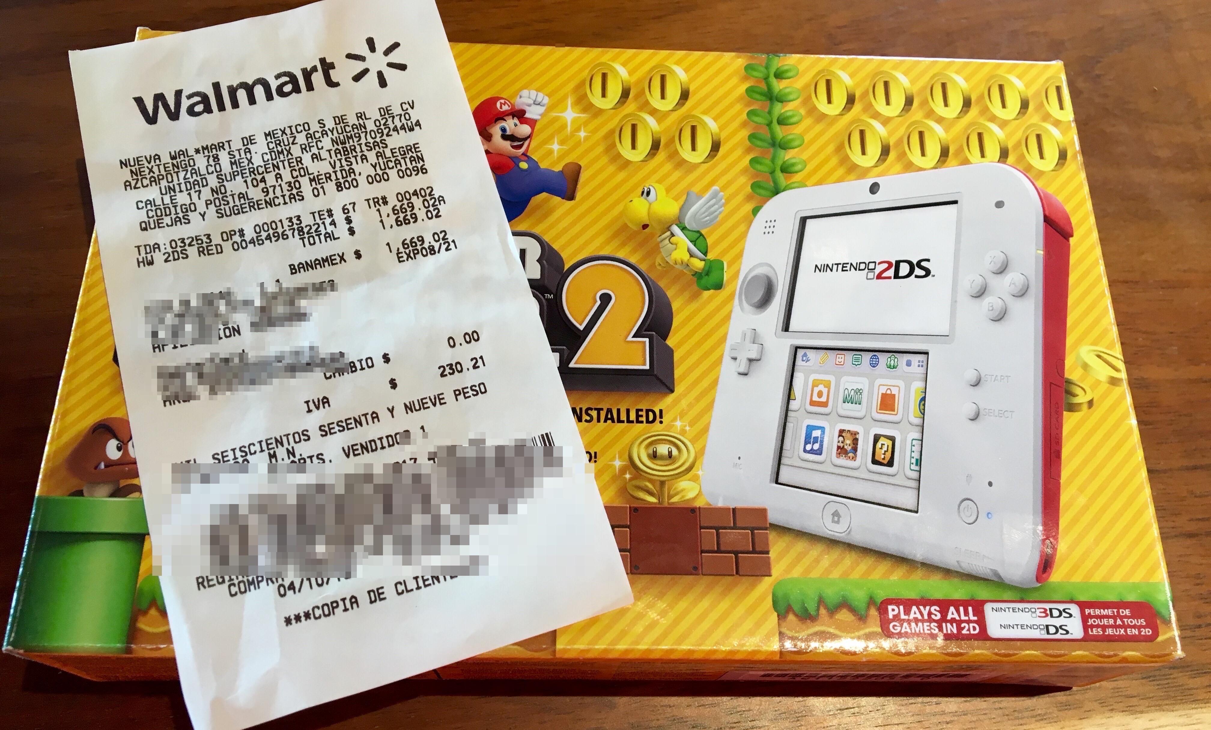 Walmart: Nintendo 2DS Scarlet Red con Super Mario Bros 2 $1669.02