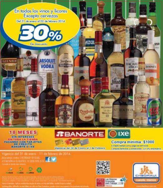 Folleto de ofertas en Chedraui del 31 de enero al 11 de febrero: incluye 30% en botellas