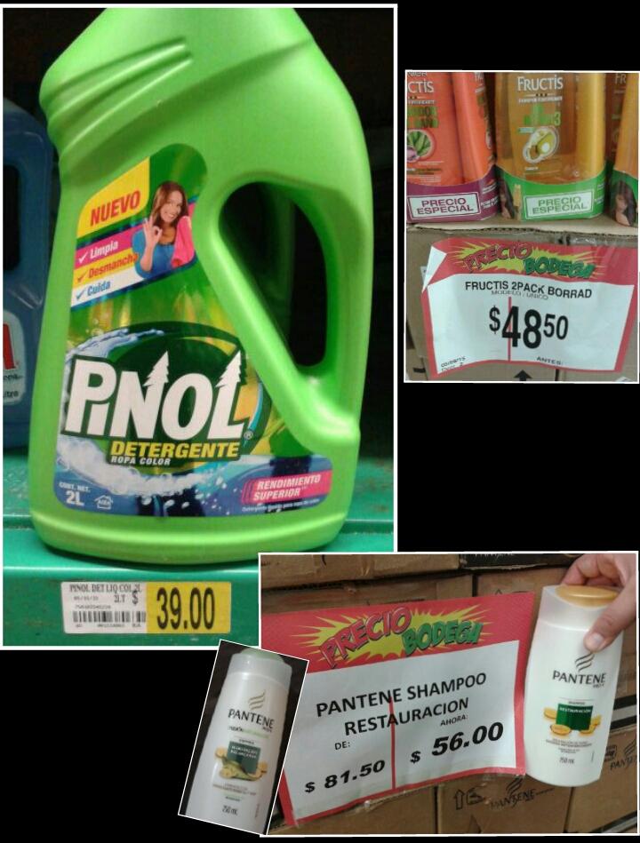 Bodega Aurrerá: Pinol detergente líquido $39, Shampoo Pantene $56