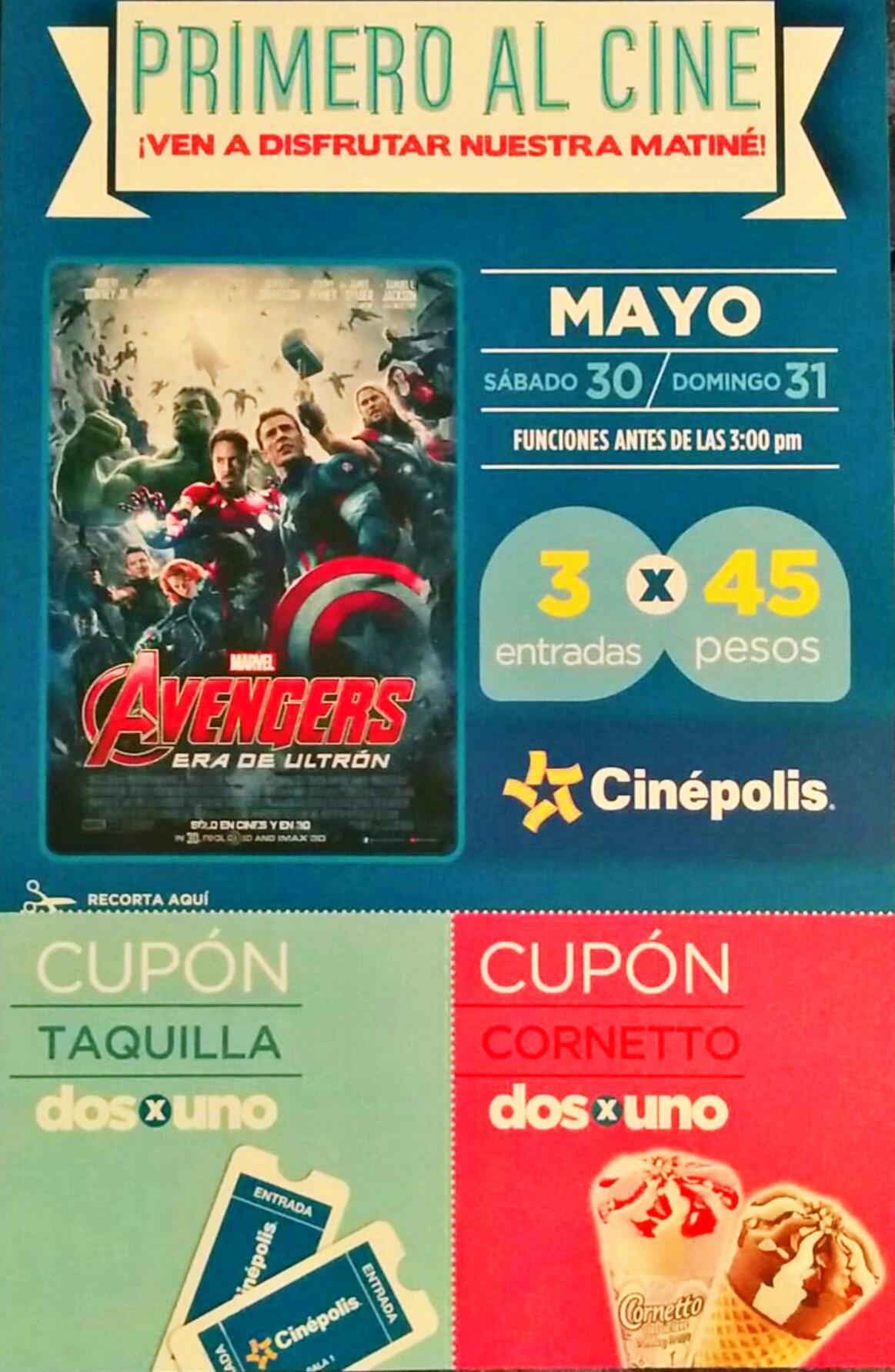 Cinépolis: 3 boletos para Avengers por $45 antes de las 3 pm, mayo 30 y 31