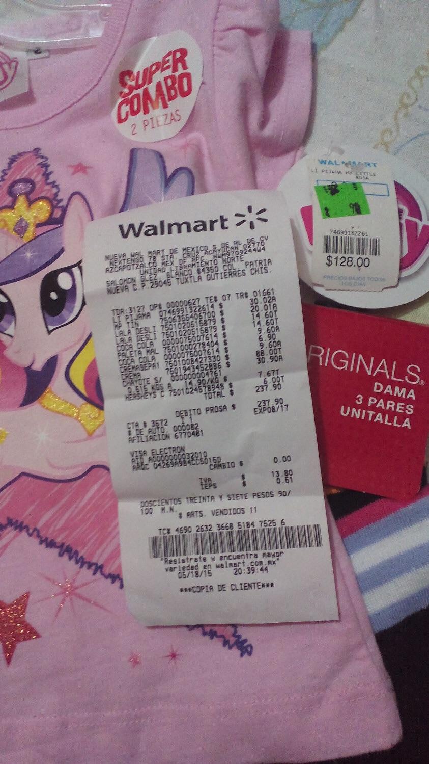 Walmart: Pijama para niñas a $30.02 y tines 3 pares por $20.01