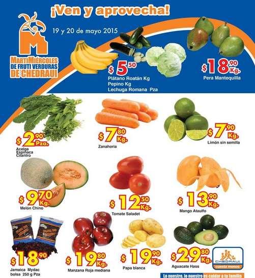Ofertas de frutas y verduras en Chedraui 19 y 20 de mayo