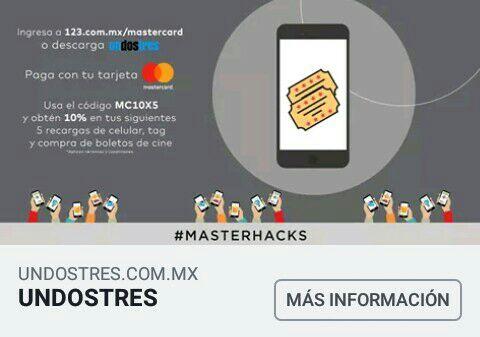 UnDosTres: 10% de bono en primeras 5 recargas o compras con tarjetas MasterCard