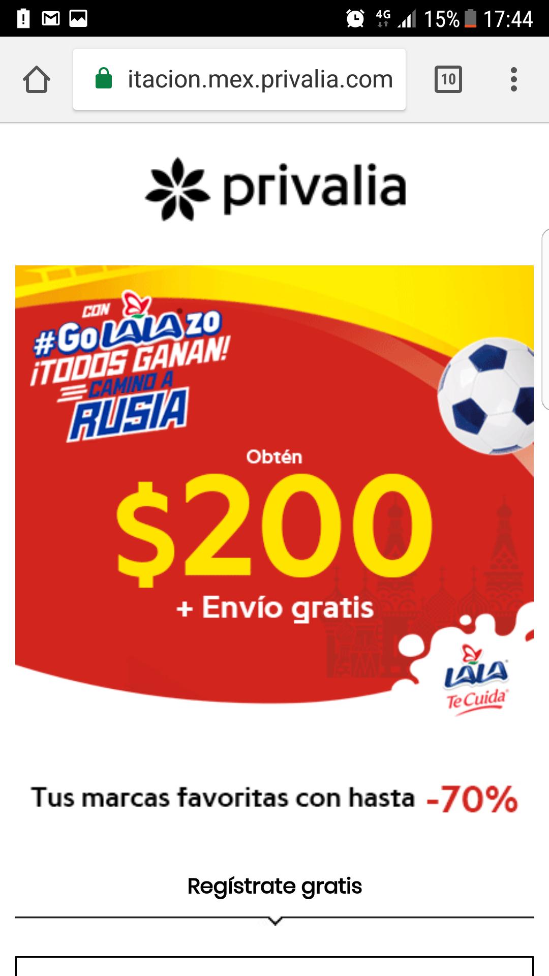 Privalia: $200 de descuento en compras de $700 más envío gratis con Lala (Nuevos Usuarios)