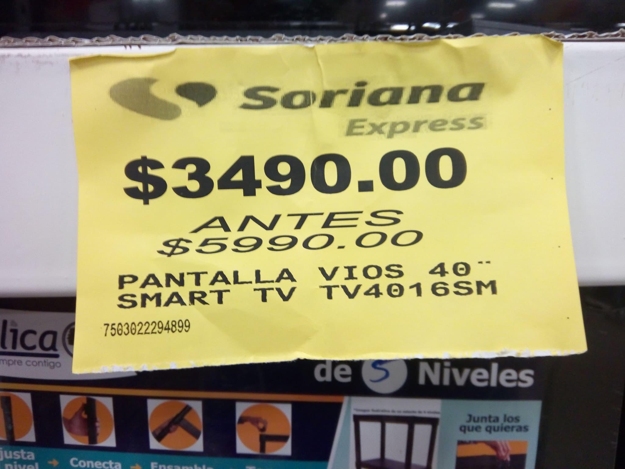 Soriana: Pantallas vios de remate smart tv 40 pulgadas $3490