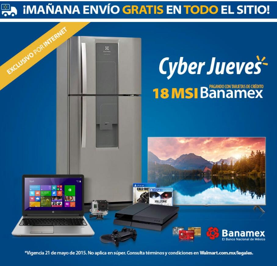 Walmart: envío gratis mayo 21 y hasta 18 meses sin intereses con Banamex