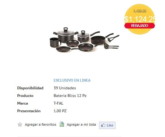 HEB: Bateria de cocina TFAL 12 piezas a $1,124