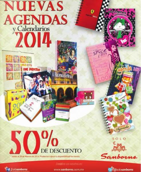 Sanborns: 50% de descuento en agendas y calendarios