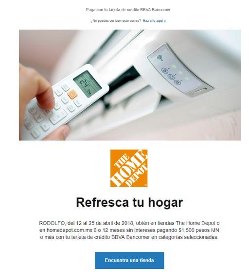 Home Depot: 6 a 12 MSI compras minimas de $1,500 con Bancomer