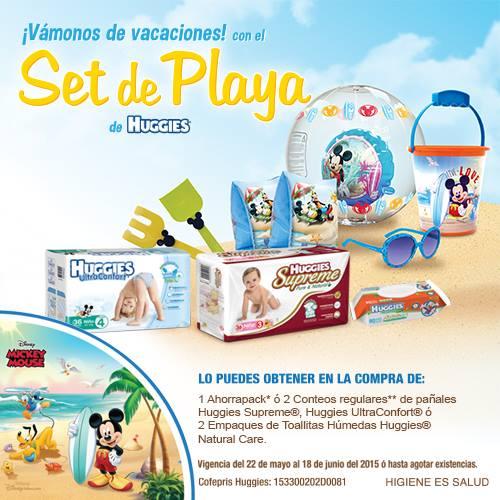 Set de playa de Mickey Mouse gratis comprando pañales y toallitas Huggies