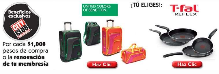 City Club: 4 sartenes T-fal a $499 oo juego de maletas Benetton a $599 con compra mínima