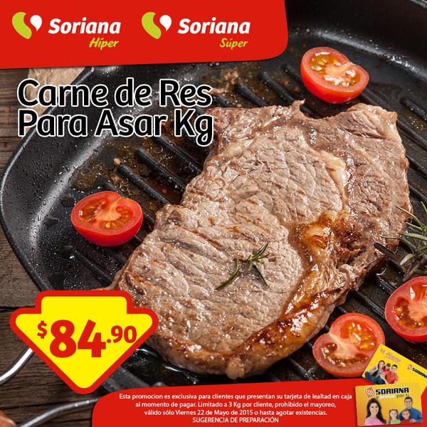 Soriana: Carne de Res para asar a $84.90