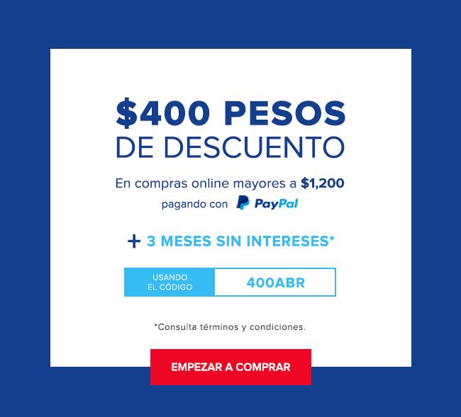 INNOVASPORT en línea: $400 de descuento en compras de $1200 al pagar con PayPal.