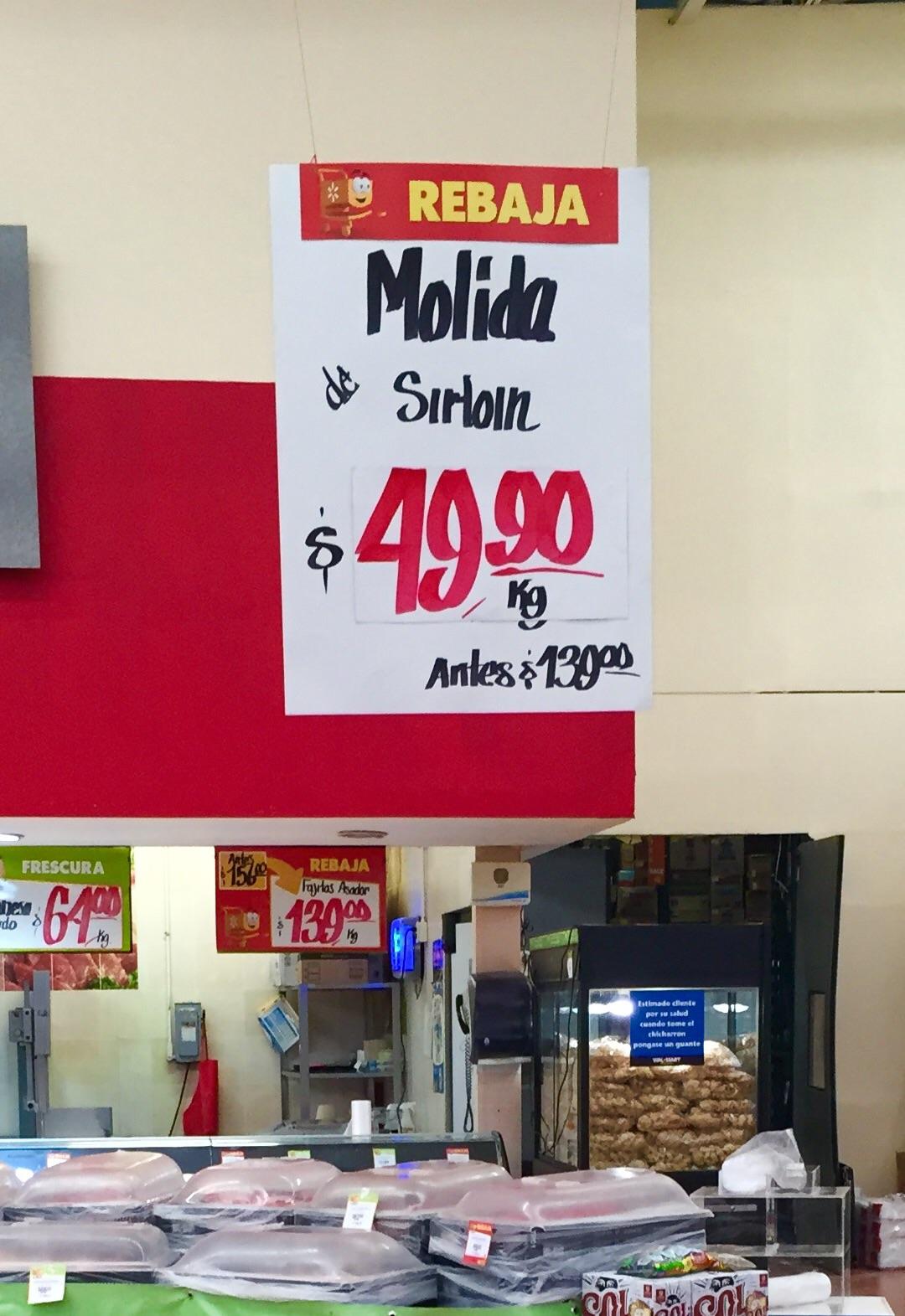 Walmart: carne molida de Sirloin a $49.90 el kilo