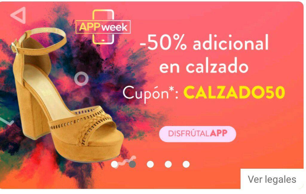 Linio App: Cupón 50% de descuento en calzado
