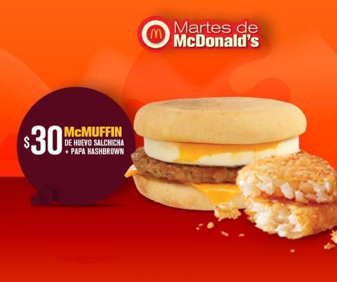 Martes de McDonalds: 1 McMuffin de huevo salchicha + papa hashbrown