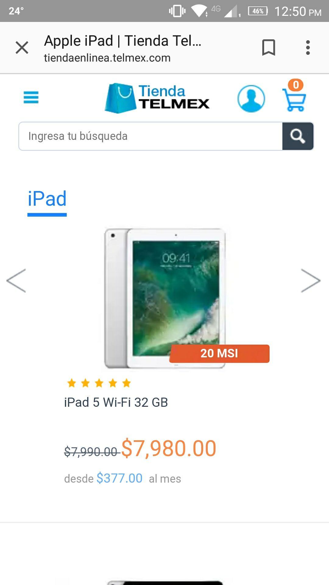 "Tienda Telmex: 20 MSI en  iPad 5 32gb 9.7"""