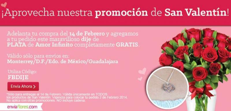 enviaflores.com: dije de plata o caja de Ferrero gratis en pedidos de San Valentín