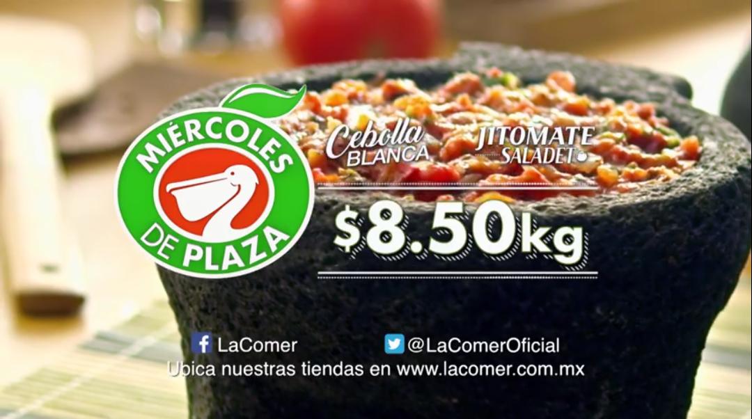 La Comer: Miércoles de Plaza 18 Abril: Jitomate Saladet $8.50 kg... Cebolla Blanca $8.50 kg... Manzana Royal Gala $19.50 kg... Papa Blanca $19.50 kg.