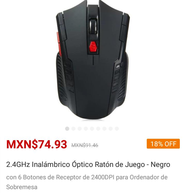 Gearbest: Mouse negro y rojo