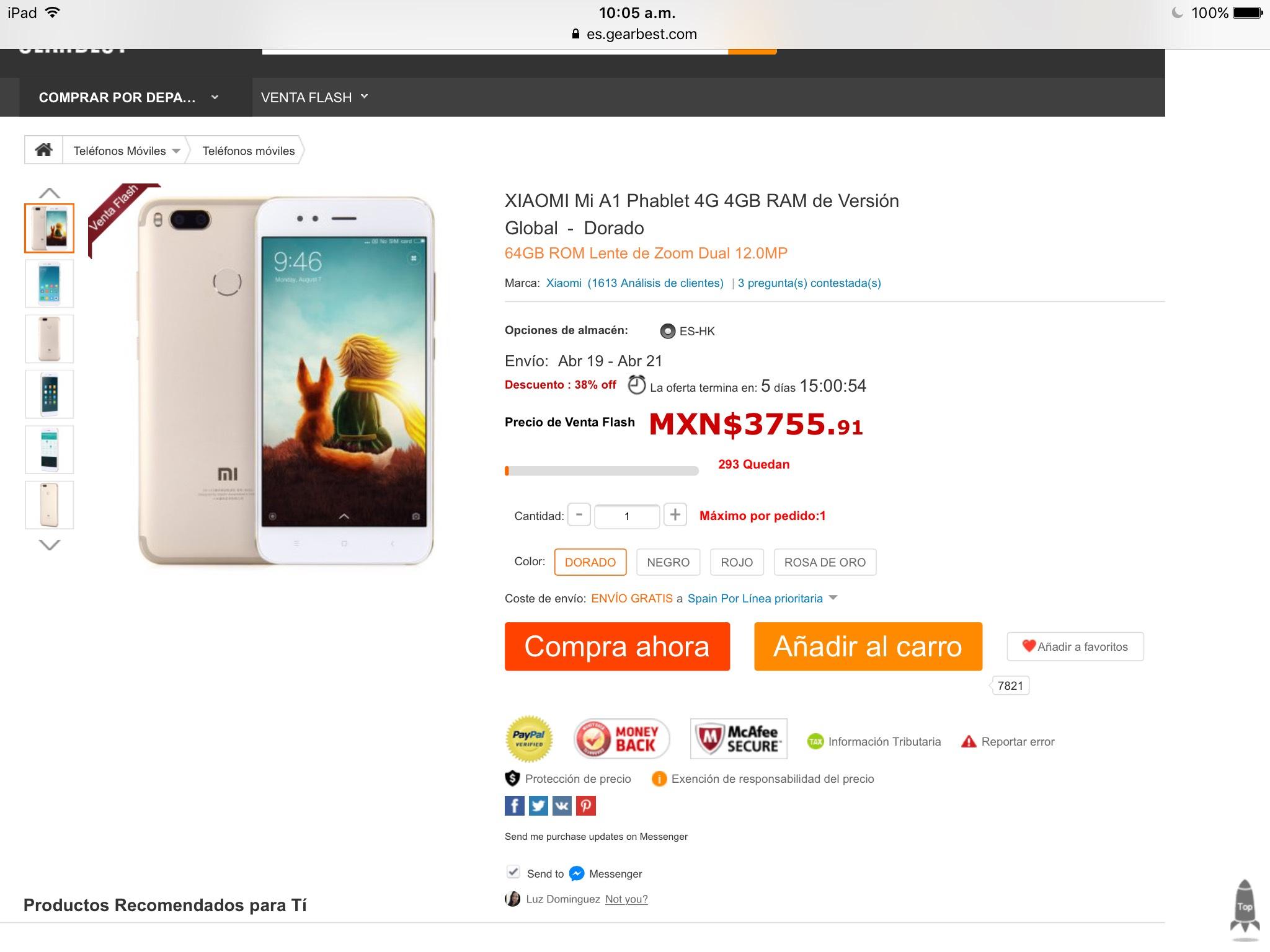 GearBest: XIAOMI Mi A1 Phablet 4G 4GB RAM de Versión Global  -  Dorado