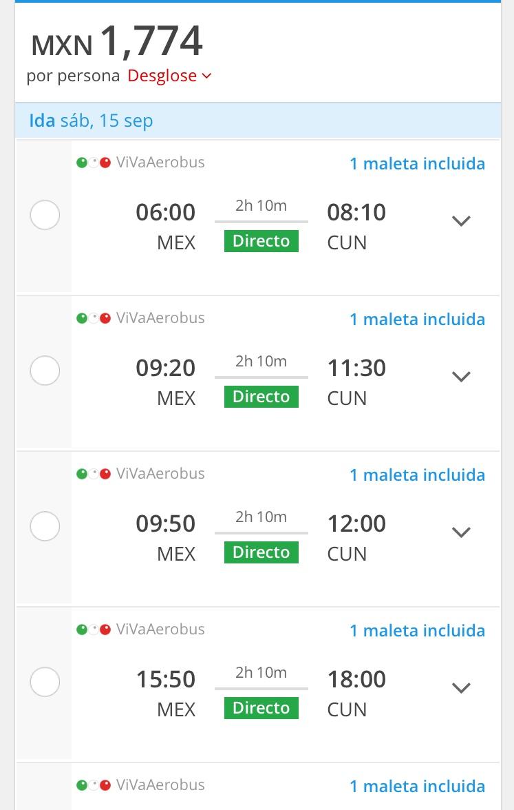 VivaAerobús: Vuelos Mexico - Cancún redondo