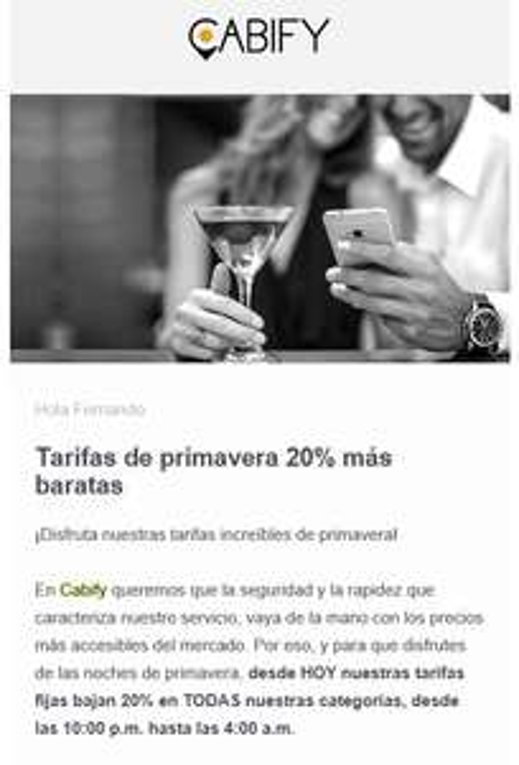 Cabify: 20% de descuento en trayectos nocturnos (acumulable con cupón de 20%)